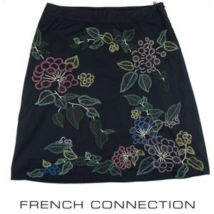 French Connection Black Embroidered Skirt